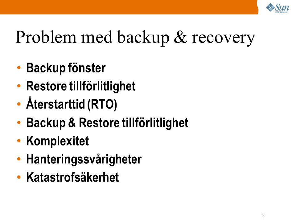 3 Problem med backup & recovery • Backup fönster • Restore tillförlitlighet • Återstarttid (RTO) • Backup & Restore tillförlitlighet • Komplexitet • Hanteringssvårigheter • Katastrofsäkerhet