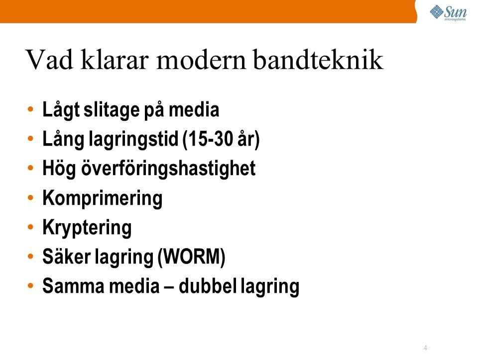 4 Vad klarar modern bandteknik • Lågt slitage på media • Lång lagringstid (15-30 år) • Hög överföringshastighet • Komprimering • Kryptering • Säker lagring (WORM) • Samma media – dubbel lagring