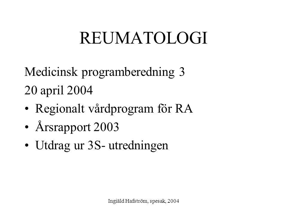 Ingiäld Hafström, spesak, 2004 REUMATOLOGI Medicinsk programberedning 3 20 april 2004 •Regionalt vårdprogram för RA •Årsrapport 2003 •Utdrag ur 3S- ut
