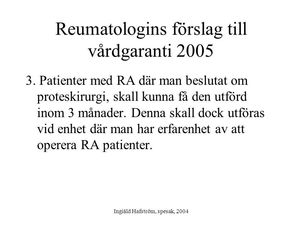 Ingiäld Hafström, spesak, 2004 Reumatologins förslag till vårdgaranti 2005 3. Patienter med RA där man beslutat om proteskirurgi, skall kunna få den u