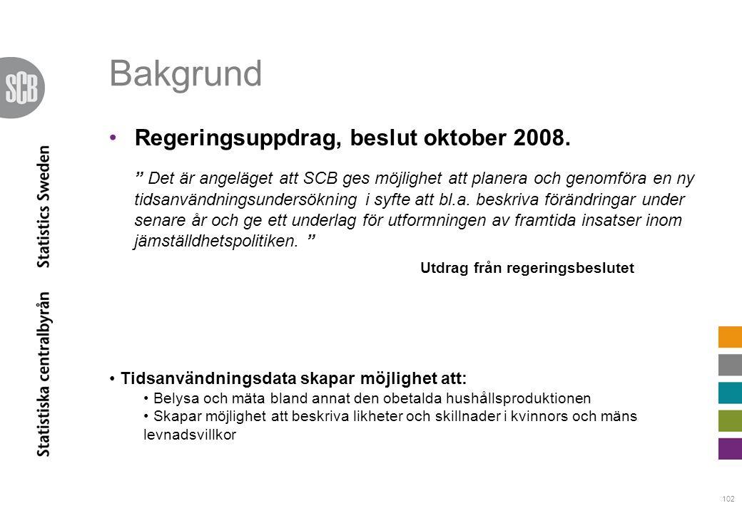 """102 Bakgrund •Regeringsuppdrag, beslut oktober 2008. """" """" Utdrag från regeringsbeslutet """" Det är angeläget att SCB ges möjlighet att planera och genomf"""