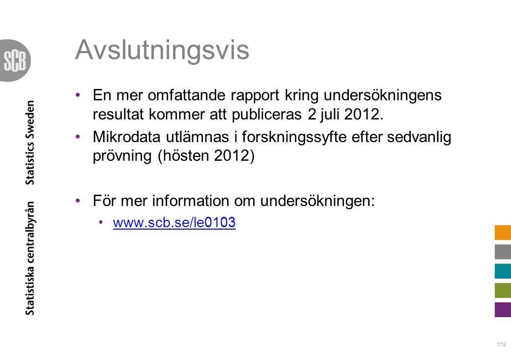 112 Avslutningsvis •En mer omfattande rapport kring undersökningens resultat kommer att publiceras 2 juli 2012. •Mikrodata utlämnas i forskningssyfte