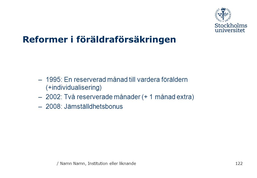 / Namn Namn, Institution eller liknande122 Reformer i föräldraförsäkringen –1995: En reserverad månad till vardera föräldern (+individualisering) –200