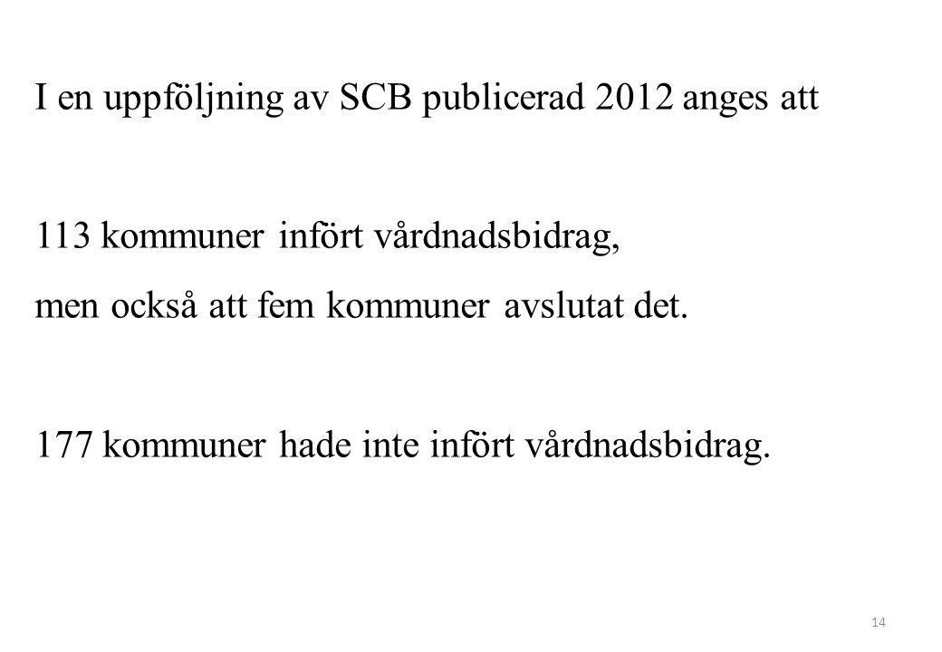 14 I en uppföljning av SCB publicerad 2012 anges att 113 kommuner infört vårdnadsbidrag, men också att fem kommuner avslutat det. 177 kommuner hade in