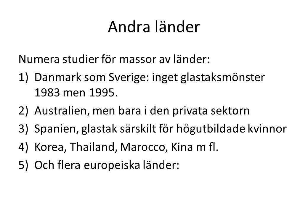 Andra länder Numera studier för massor av länder: 1)Danmark som Sverige: inget glastaksmönster 1983 men 1995. 2)Australien, men bara i den privata sek
