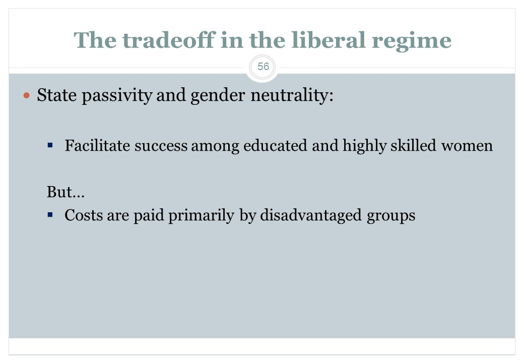 56 The tradeoff in the liberal regime  State passivity and gender neutrality:  Facilitate success among educated and highly skilled women But…  Cos