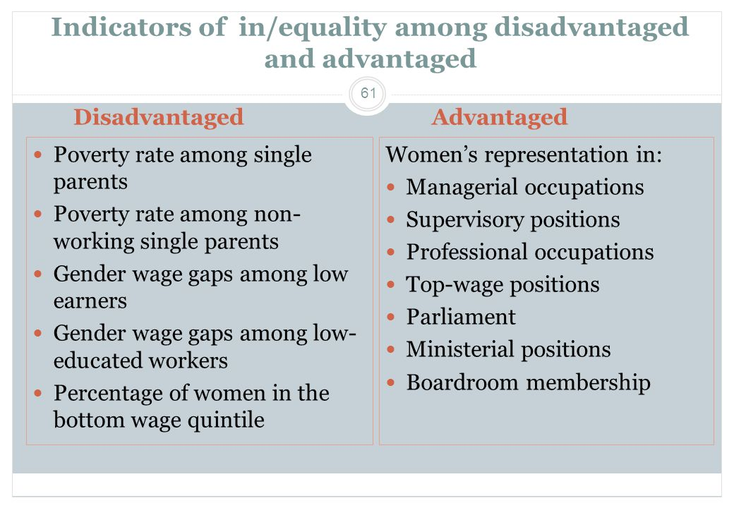 61 Indicators of in/equality among disadvantaged and advantaged Women's representation in:  Managerial occupations  Supervisory positions  Professional occupations  Top-wage positions  Parliament  Ministerial positions  Boardroom membership  Poverty rate among single parents  Poverty rate among non- working single parents  Gender wage gaps among low earners  Gender wage gaps among low- educated workers  Percentage of women in the bottom wage quintile DisadvantagedAdvantaged