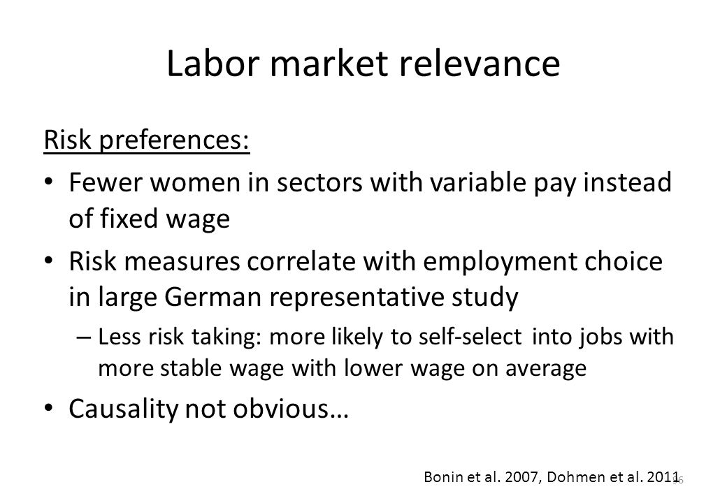 96 Labor market relevance Risk preferences: • Fewer women in sectors with variable pay instead of fixed wage • Risk measures correlate with employment choice in large German representative study – Less risk taking: more likely to self-select into jobs with more stable wage with lower wage on average • Causality not obvious… Bonin et al.