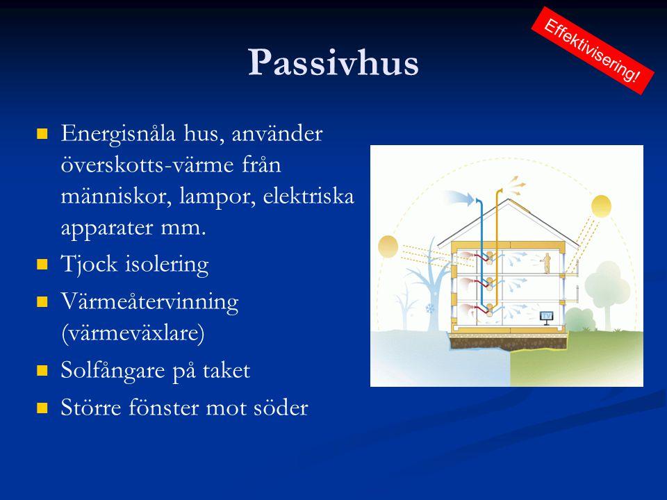 Passivhus   Energisnåla hus, använder överskotts-värme från människor, lampor, elektriska apparater mm.   Tjock isolering   Värmeåtervinning (vä