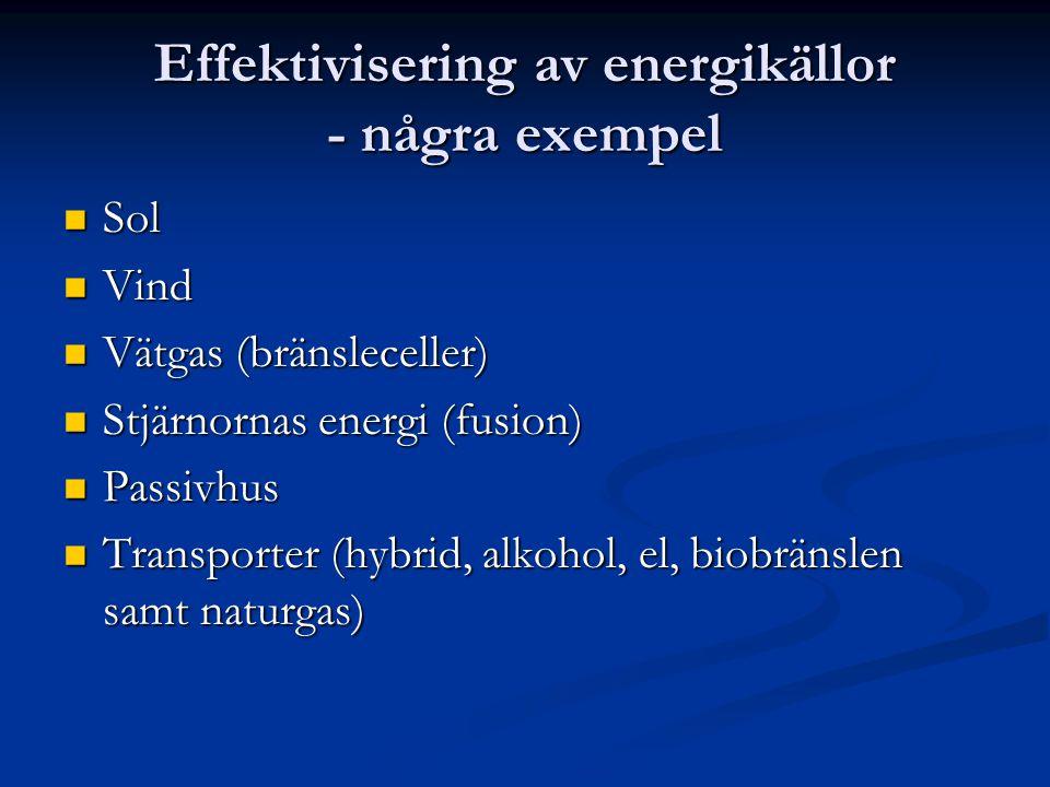 Effektivisering av energikällor - några exempel  Sol  Vind  Vätgas (bränsleceller)  Stjärnornas energi (fusion)  Passivhus  Transporter (hybrid,