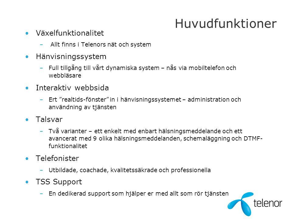 Huvudfunktioner •Växelfunktionalitet – Allt finns i Telenors nät och system •Hänvisningssystem –Full tillgång till vårt dynamiska system – nås via mob