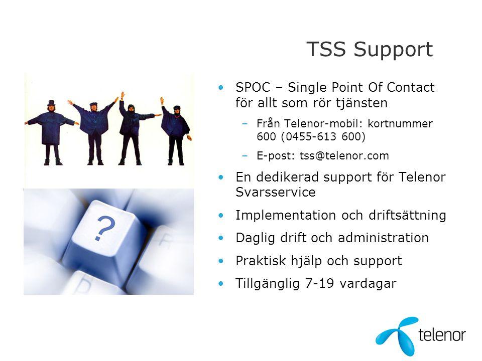 TSS Support •SPOC – Single Point Of Contact för allt som rör tjänsten –Från Telenor-mobil: kortnummer 600 (0455-613 600) –E-post: tss@telenor.com •En
