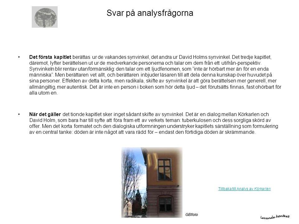 Svar på analysfrågorna •Det första kapitlet berättas ur de vakandes synvinkel, det andra ur David Holms synvinkel. Det tredje kapitlet, däremot, lyfte