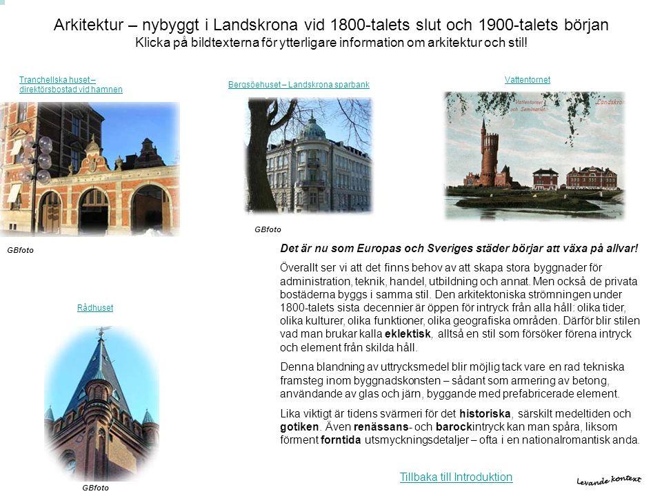 Arkitektur – nybyggt i Landskrona vid 1800-talets slut och 1900-talets början Klicka på bildtexterna för ytterligare information om arkitektur och sti