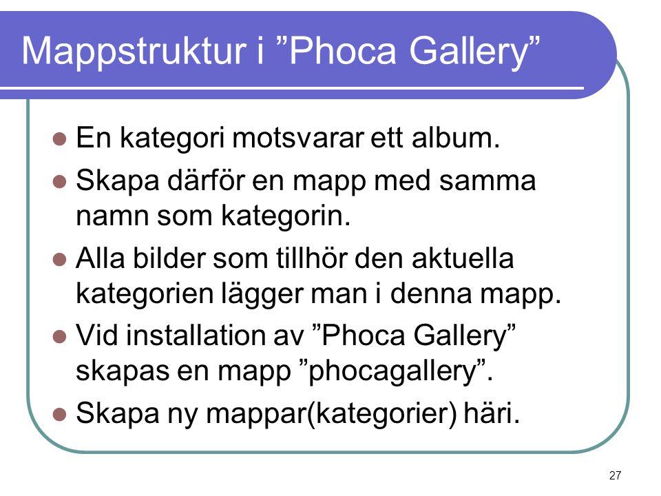 Mappstruktur i Phoca Gallery  En kategori motsvarar ett album.