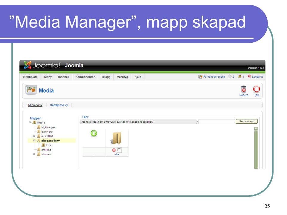 """Media Manager"", mapp skapad 35"