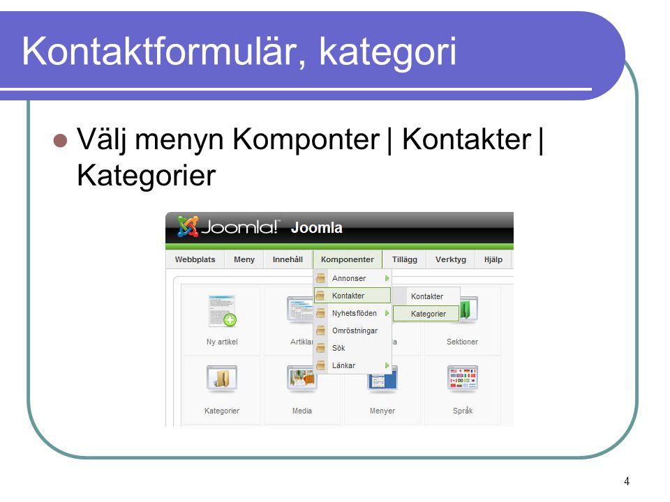 Kontaktformulär, kategori  Välj menyn Komponter | Kontakter | Kategorier 4