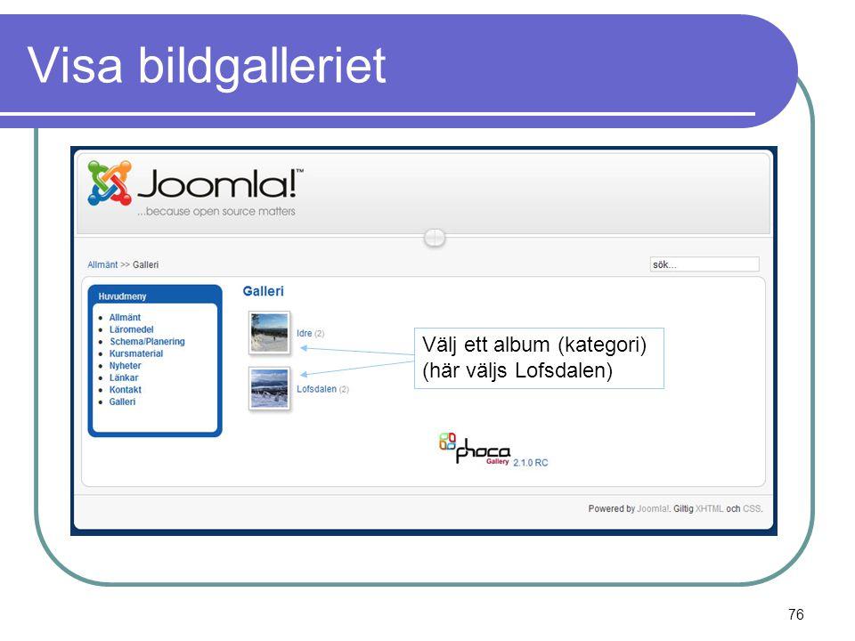 Visa bildgalleriet Välj ett album (kategori) (här väljs Lofsdalen) 76