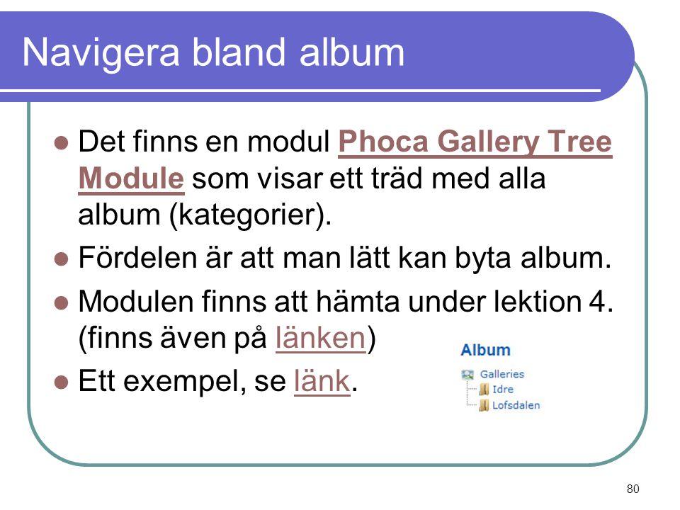 Navigera bland album  Det finns en modul Phoca Gallery Tree Module som visar ett träd med alla album (kategorier).Phoca Gallery Tree Module  Fördelen är att man lätt kan byta album.
