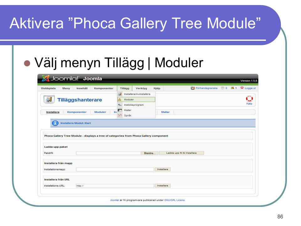 Aktivera Phoca Gallery Tree Module  Välj menyn Tillägg | Moduler 86
