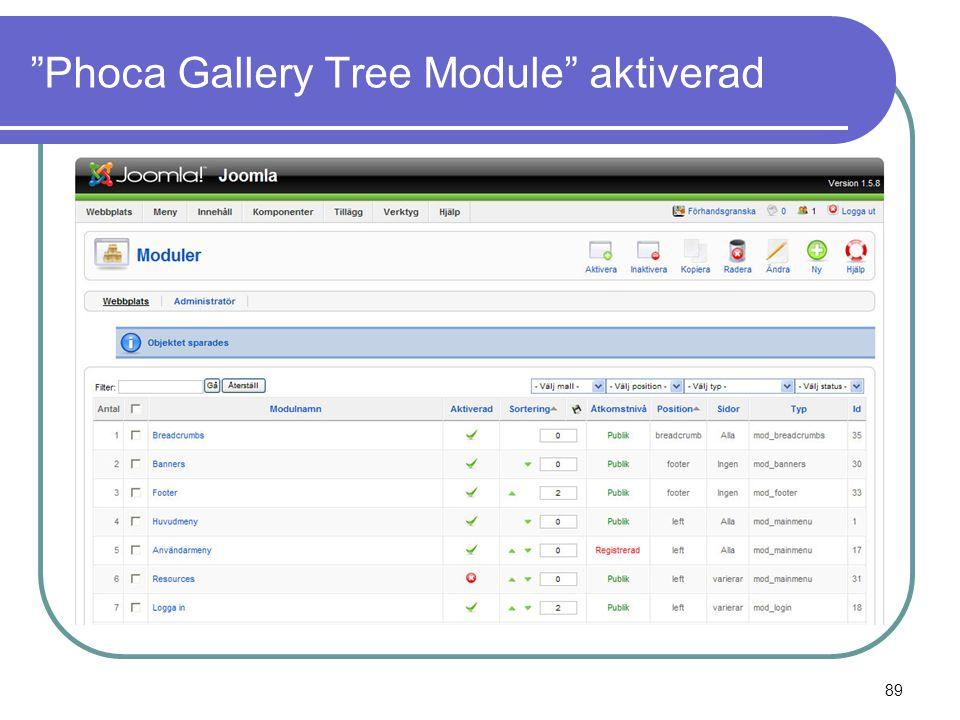 Phoca Gallery Tree Module aktiverad 89