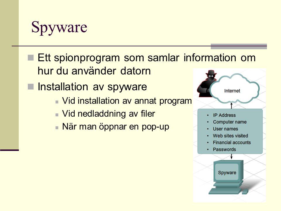 Spyware  Ett spionprogram som samlar information om hur du använder datorn  Installation av spyware  Vid installation av annat program  Vid nedlad