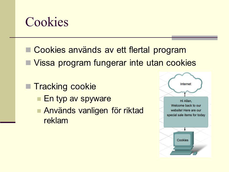 Cookies  Cookies används av ett flertal program  Vissa program fungerar inte utan cookies  Tracking cookie  En typ av spyware  Används vanligen f