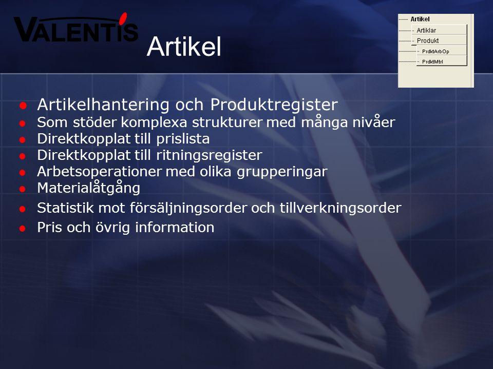 Produktdata Artiklar Dokument Service Vi använder oss av både artiklar och produkter. Objektregistret har olika användningsområden