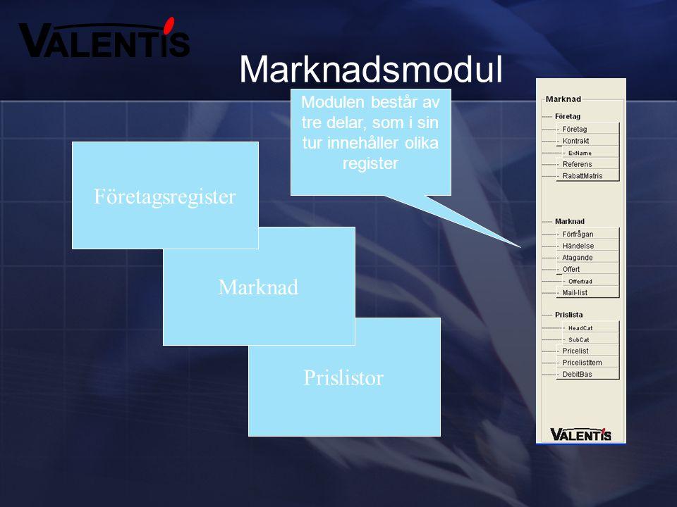 Valentis består av sex olika moduler Under de olika modulerna finns det olika register som är anpassade för respektive modul Vi kommer att gå igenom d