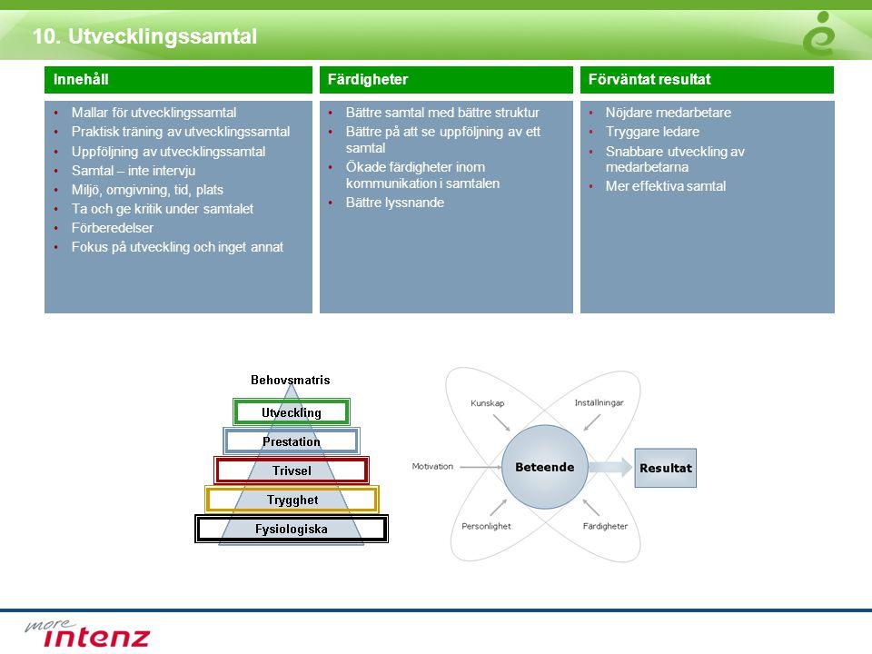 10. Utvecklingssamtal InnehållFärdigheterFörväntat resultat •Mallar för utvecklingssamtal •Praktisk träning av utvecklingssamtal •Uppföljning av utvec