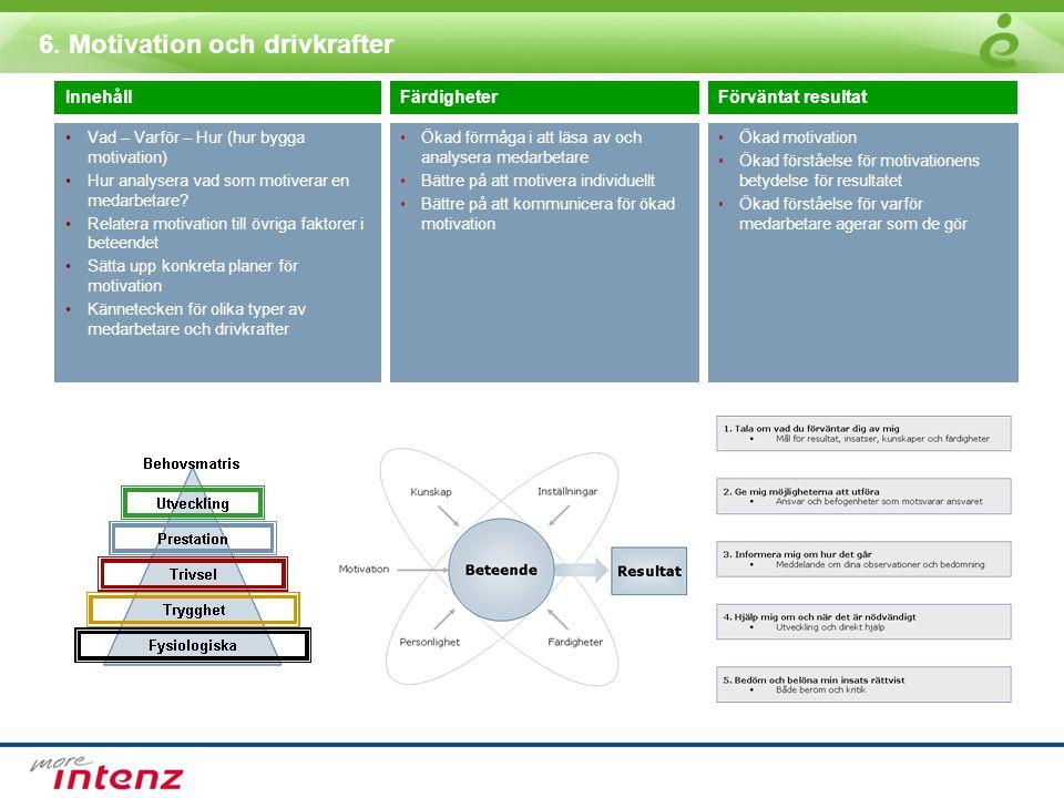 6. Motivation och drivkrafter InnehållFärdigheterFörväntat resultat •Vad – Varför – Hur (hur bygga motivation) •Hur analysera vad som motiverar en med
