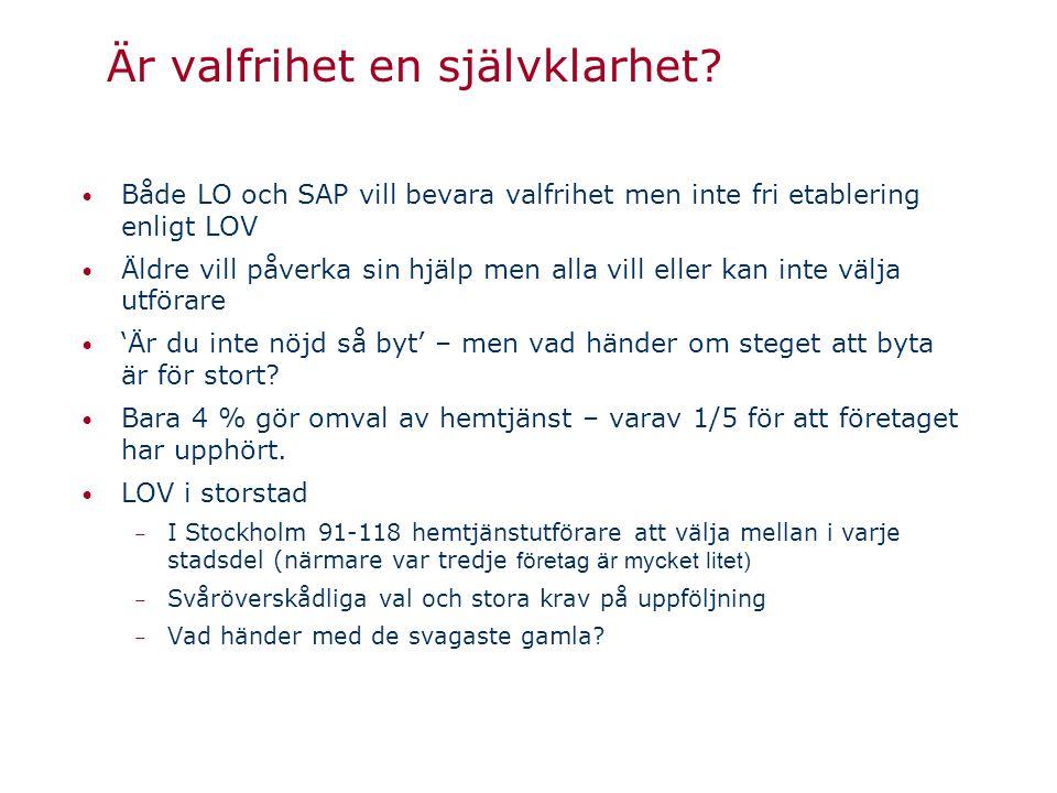 Är valfrihet en självklarhet? • Både LO och SAP vill bevara valfrihet men inte fri etablering enligt LOV • Äldre vill påverka sin hjälp men alla vill