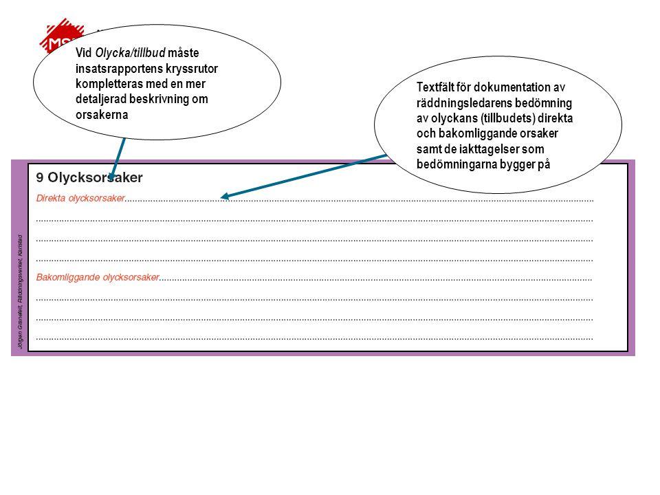 Vid Olycka/tillbud måste insatsrapportens kryssrutor kompletteras med en mer detaljerad beskrivning om orsakerna Textfält för dokumentation av räddnin