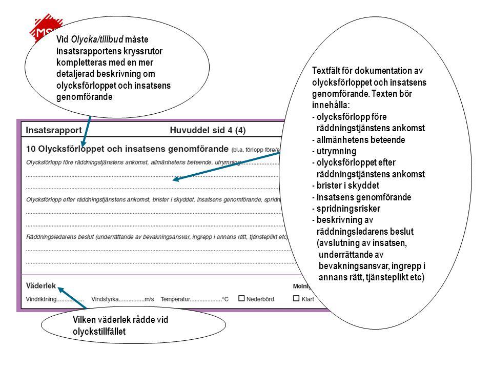 Textfält för dokumentation av olycksförloppet och insatsens genomförande. Texten bör innehålla: - olycksförlopp före räddningstjänstens ankomst - allm