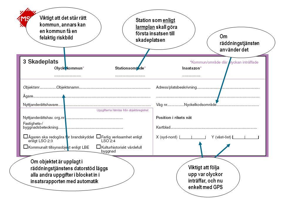 Textfält för dokumentation av olycksförloppet och insatsens genomförande.