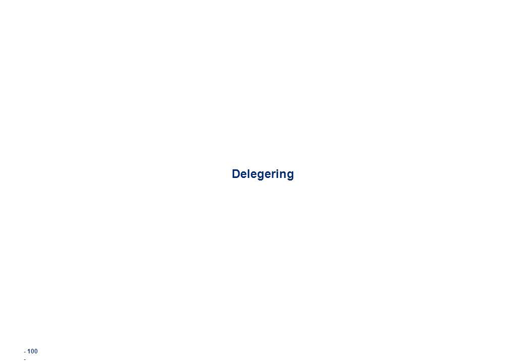 - 100 - Delegering
