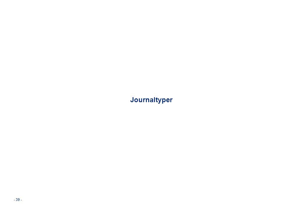 - 39 - Journaltyper