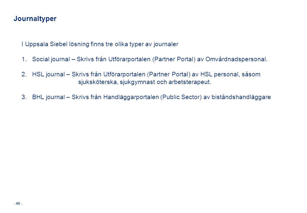 - 40 - Journaltyper I Uppsala Siebel lösning finns tre olika typer av journaler 1.Social journal – Skrivs från Utförarportalen (Partner Portal) av Omv