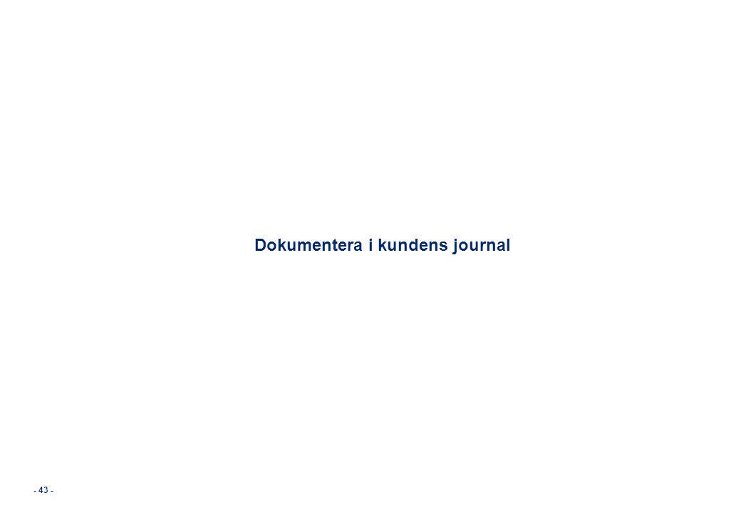 - 43 - Dokumentera i kundens journal