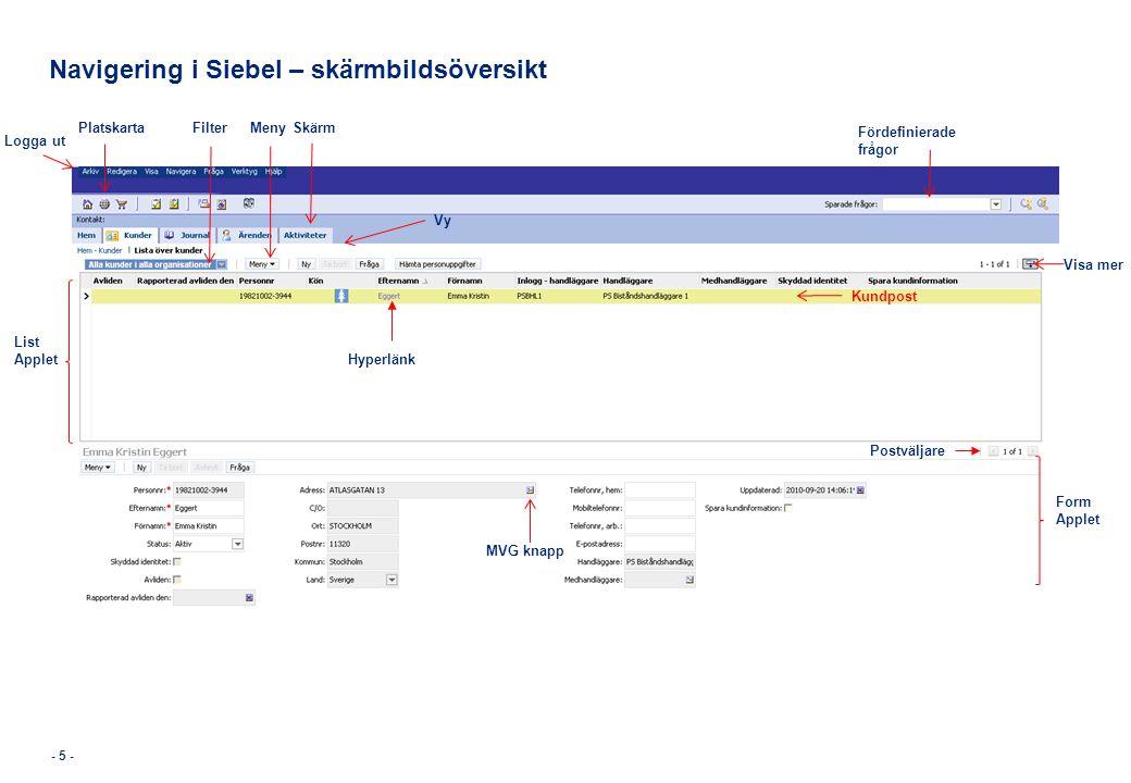Navigering i Siebel – skärmbildsöversikt MenySkärm Logga ut Fördefinierade frågor List Applet Form Applet Kundpost Postväljare Filter MVG knapp Platsk