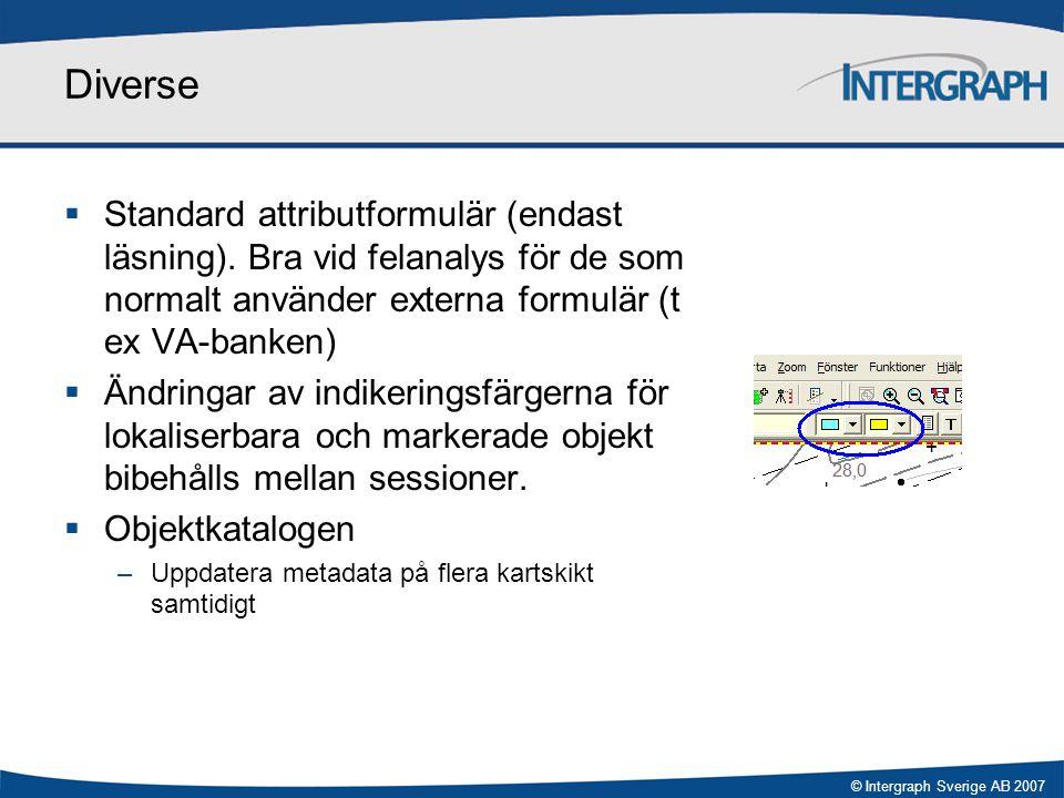 © Intergraph Sverige AB 2007 Diverse  Standard attributformulär (endast läsning). Bra vid felanalys för de som normalt använder externa formulär (t e