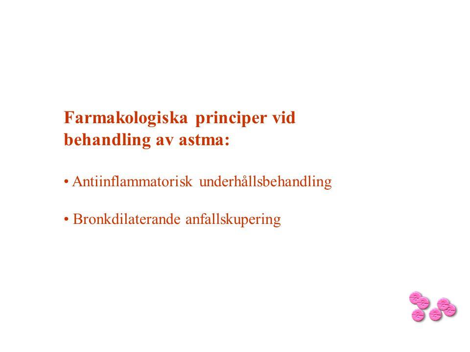 Farmakologiska principer vid behandling av astma: • Antiinflammatorisk underhållsbehandling • Bronkdilaterande anfallskupering