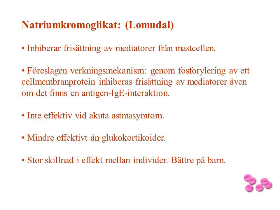 Natriumkromoglikat: (Lomudal) • Inhiberar frisättning av mediatorer från mastcellen. • Föreslagen verkningsmekanism: genom fosforylering av ett cellme