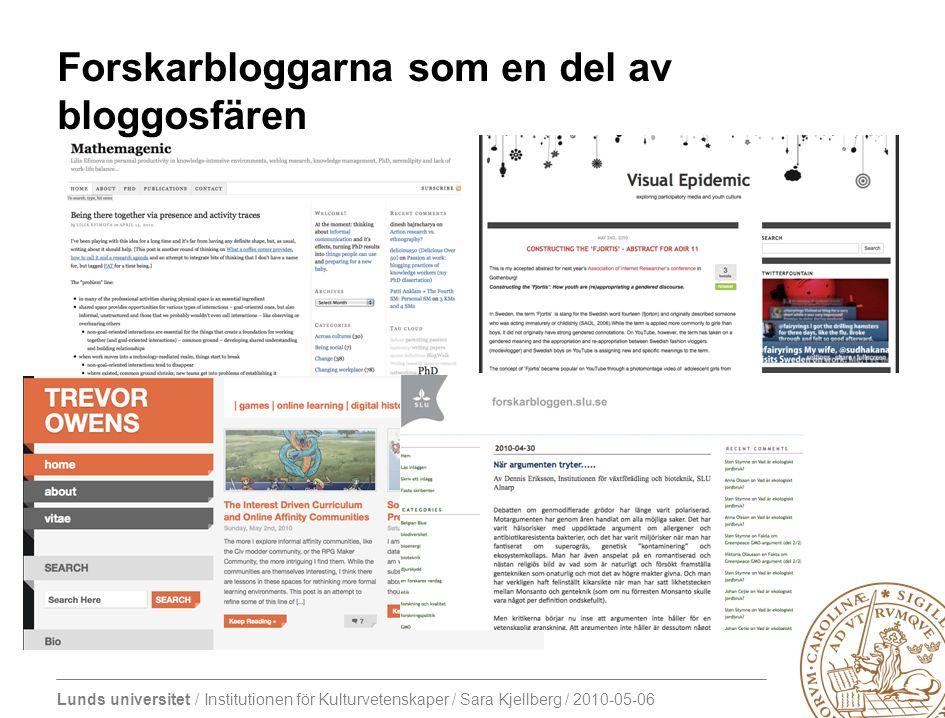 Lunds universitet / Institutionen för Kulturvetenskaper / Sara Kjellberg / 2010-05-06 Forskarbloggarna som en del av bloggosfären