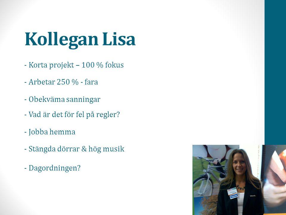 Kollegan Lisa - Korta projekt – 100 % fokus - Arbetar 250 % - fara - Obekväma sanningar - Vad är det för fel på regler? - Jobba hemma - Stängda dörrar