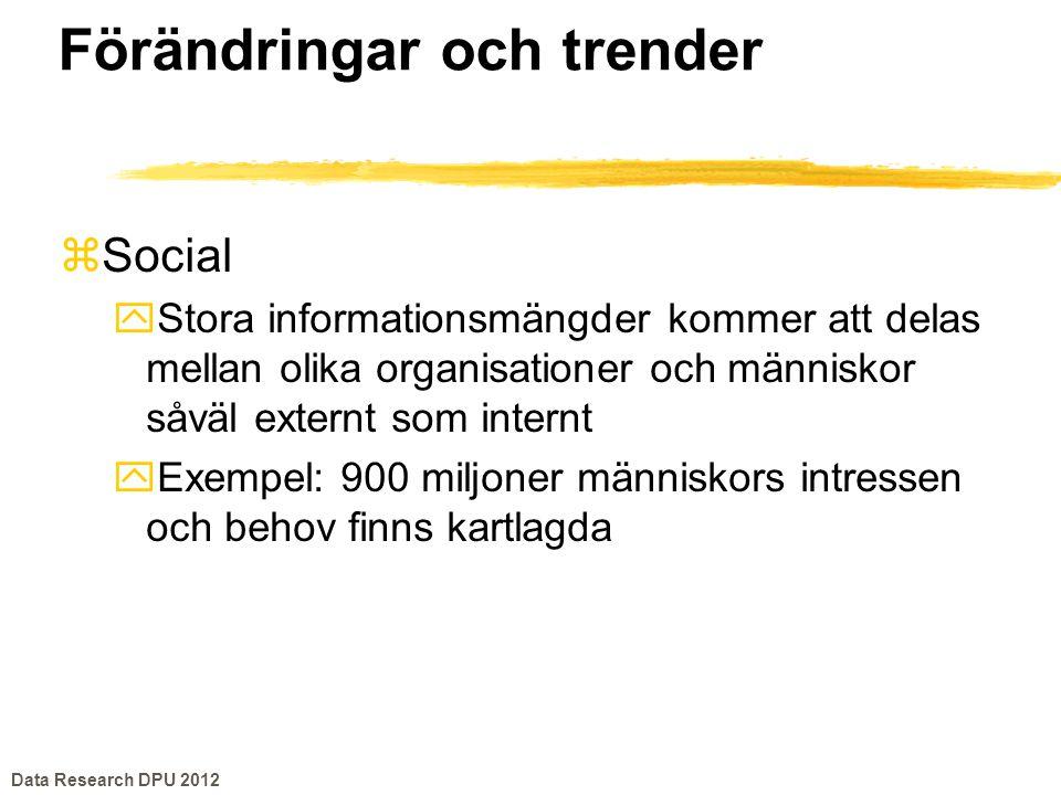 Förändringar och trender zSocial yStora informationsmängder kommer att delas mellan olika organisationer och människor såväl externt som internt yExem