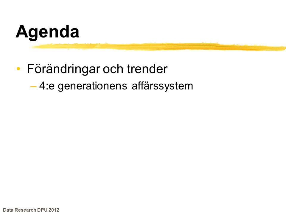 Förändringar och trender •4:e generationens affärssystem –Mobil –Molnet –Big Data –Fast Data –Social •Sammantaget ger detta en dramatisk förändring av marknaden för affärssystem Data Research DPU 2012
