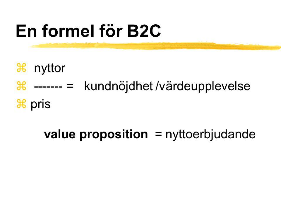 En formel för B2C z nyttor z ------- = kundnöjdhet /värdeupplevelse z pris value proposition = nyttoerbjudande