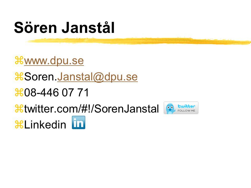 Sören Janstål zwww.dpu.sewww.dpu.se zSoren.Janstal@dpu.seJanstal@dpu.se z08-446 07 71 ztwitter.com/#!/SorenJanstal zLinkedin
