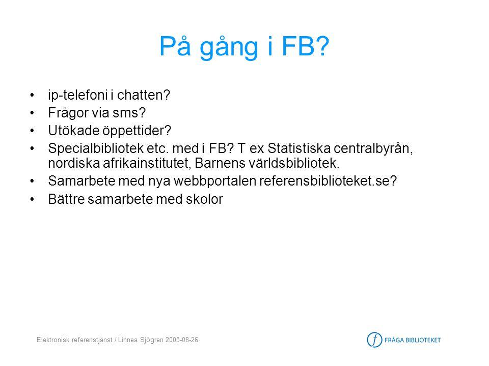 Elektronisk referenstjänst / Linnea Sjögren 2005-08-26 På gång i FB? •ip-telefoni i chatten? •Frågor via sms? •Utökade öppettider? •Specialbibliotek e